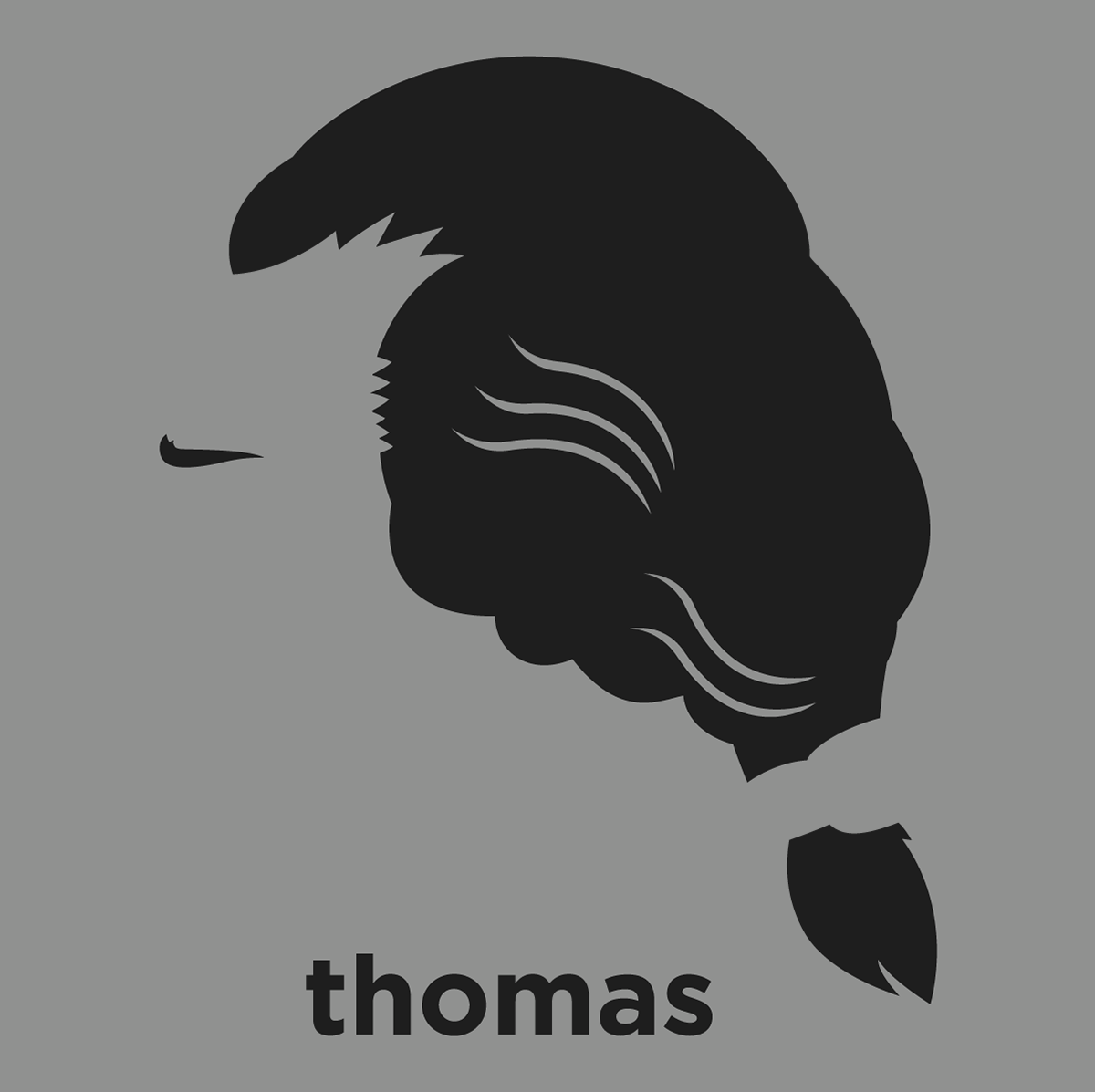 a t shirt with a minimalist hair based illustration of thomas jefferson american founding father the principal author of the declaration of independence  [ 1200 x 1197 Pixel ]