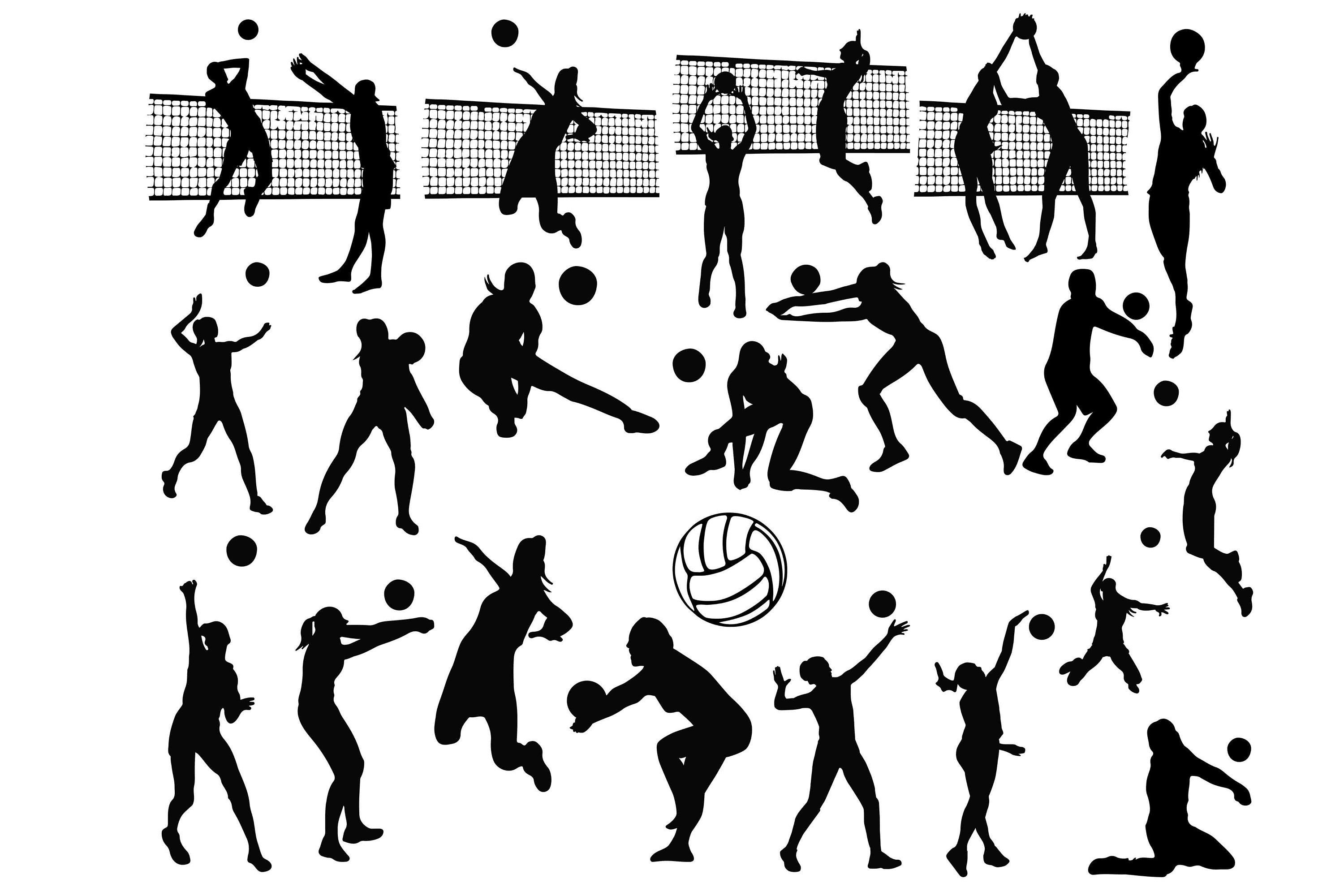 Volleyball Silhouettes Volleyball Clip Art Sports Etsy In 2020 Silhouette Svg Volleyball Silhouette Svg