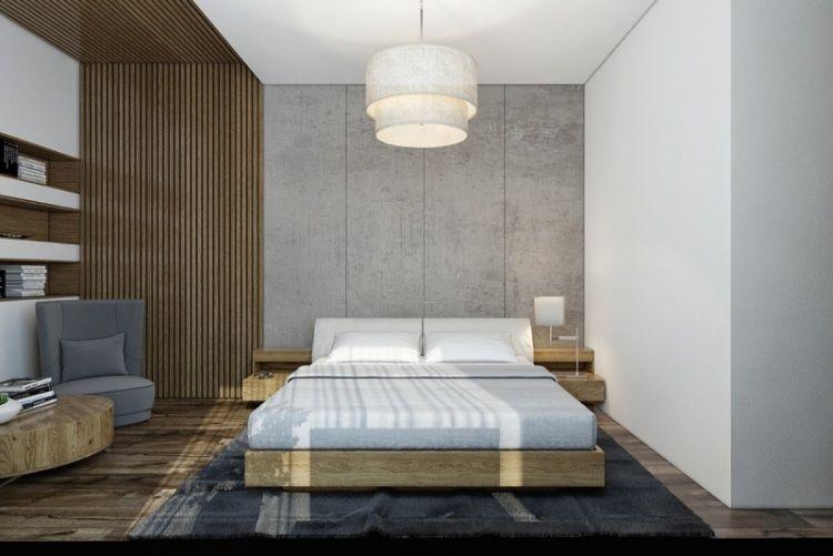 Wandgestaltung Beton holz und beton bei der wandgestaltung des schlafzimmers kombinieren