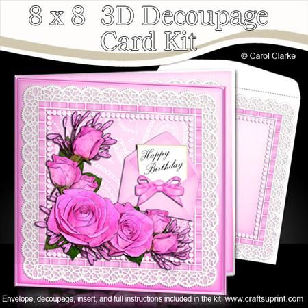 8 X 8 Roses Lace N Pearls Kit With 3d Decoupage Pinterest