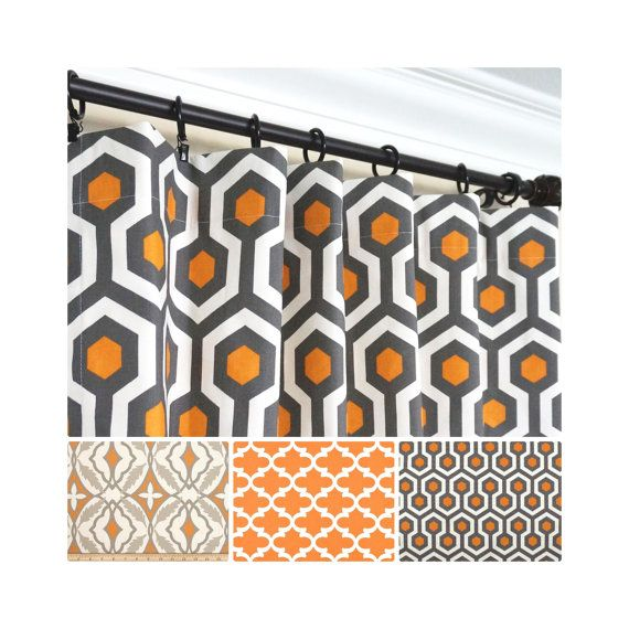 This Listing Is For A Pair Of Drapery Panels In Orange Gray