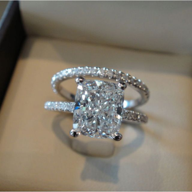 200 Ct Cushion Cut Pave Round Eternity Diamond Engagement Ring H