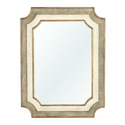 """Kathy Kuo Home - Yardley Antique Faux Gold Shagreen Notched Corner Classic Mirror - """"Well we know who the fairest mirror of all is, and it i..."""