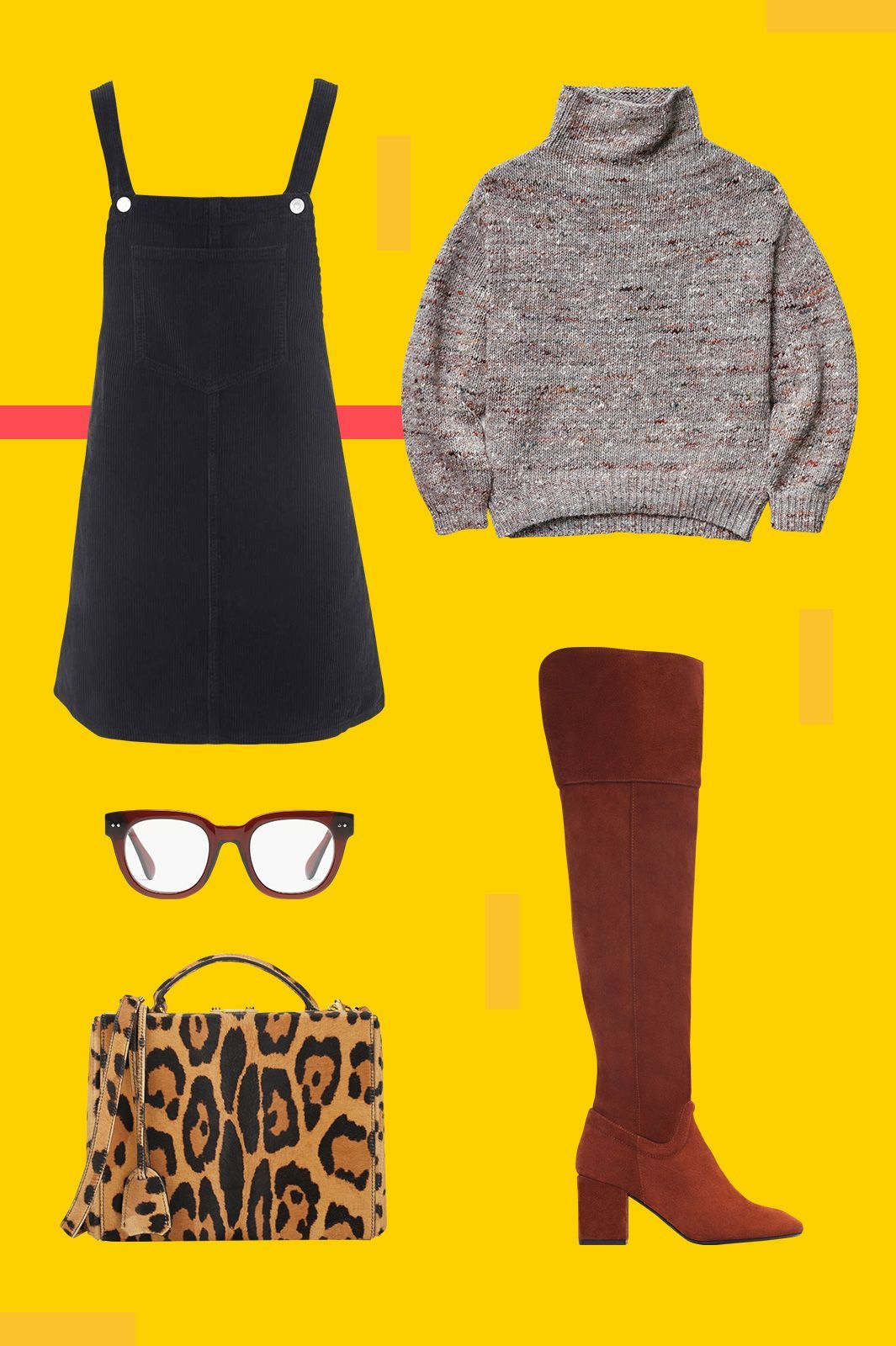 The ONLY Dress You Need In Your Closet This Fall #refinery29 http://www.refinery29.com/how-to-wear-pinafore-dress-5-ways#slide-3 The Cozy EnsembleMake a pinafore work for cooler days by wearing it with your favorite chunky turtleneck sweater. Then, keep your legs warm with a knee-high boot, and make the whole thing feel a bit more fun with a leopard top-handle bag and some funky frames (whether you actually need them or not)....
