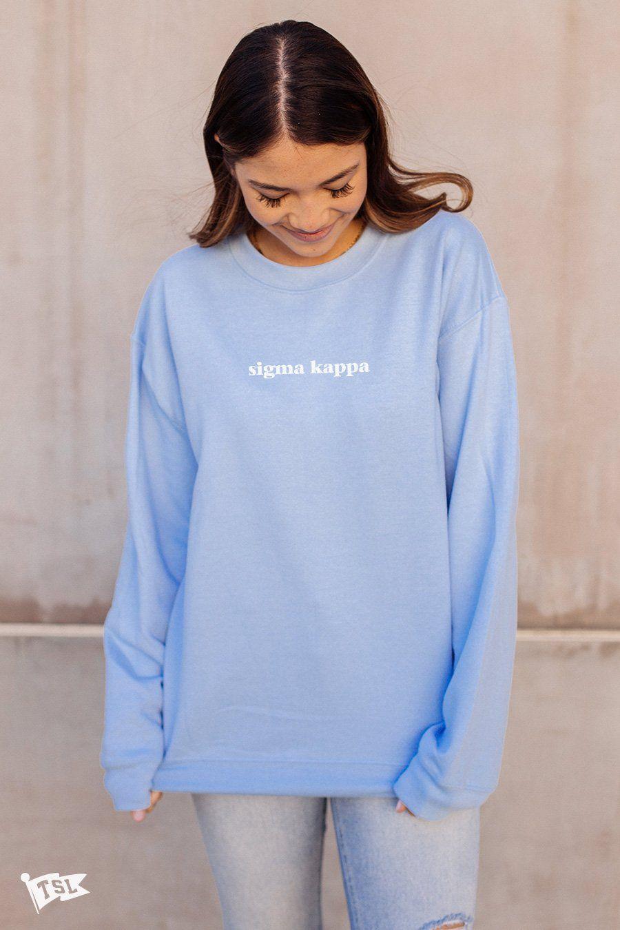 Sigma Kappa Baby Crewneck Light Blue Crewneck Basic Sweatshirt Chi Omega Sweatshirt [ 1350 x 900 Pixel ]