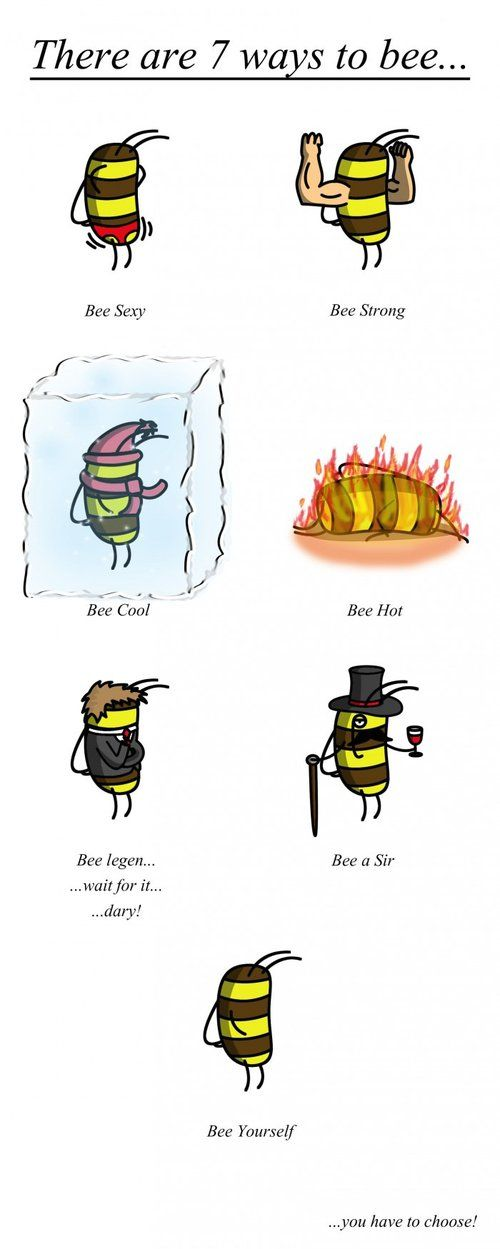 There are 7 ways to bee - Bee shows different ways to be