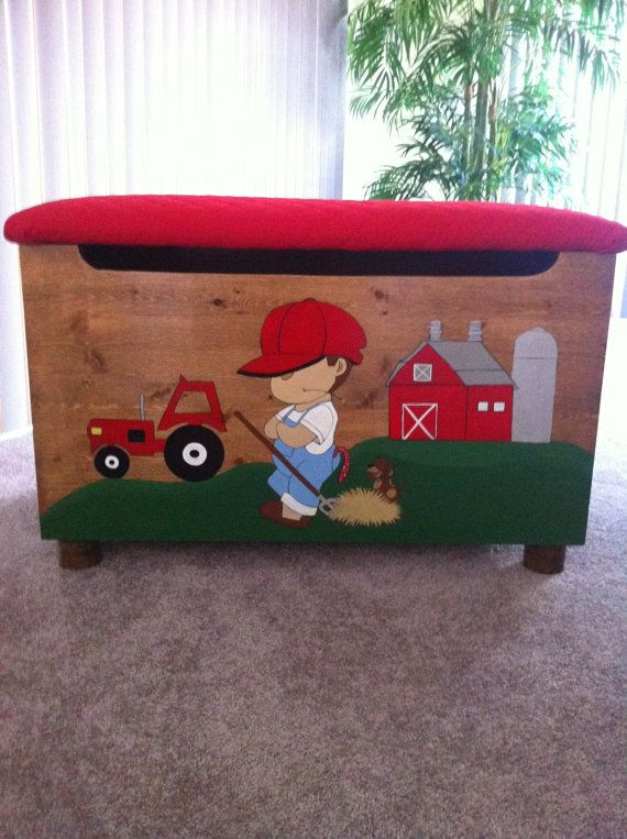 Farm Boy Toybox By Cccbyreta On Etsy 300 00 Boys Toy Box Baby Boy Bedroom Toy Boxes