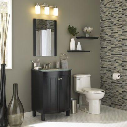 bathroom tile color schemes with black   glass top vanity