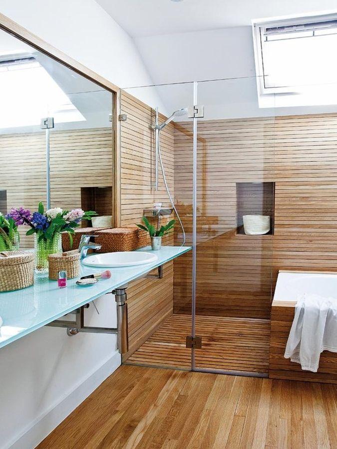 Duchas de madera reforma bajo pinterest duchas - Duchas a ras de suelo ...