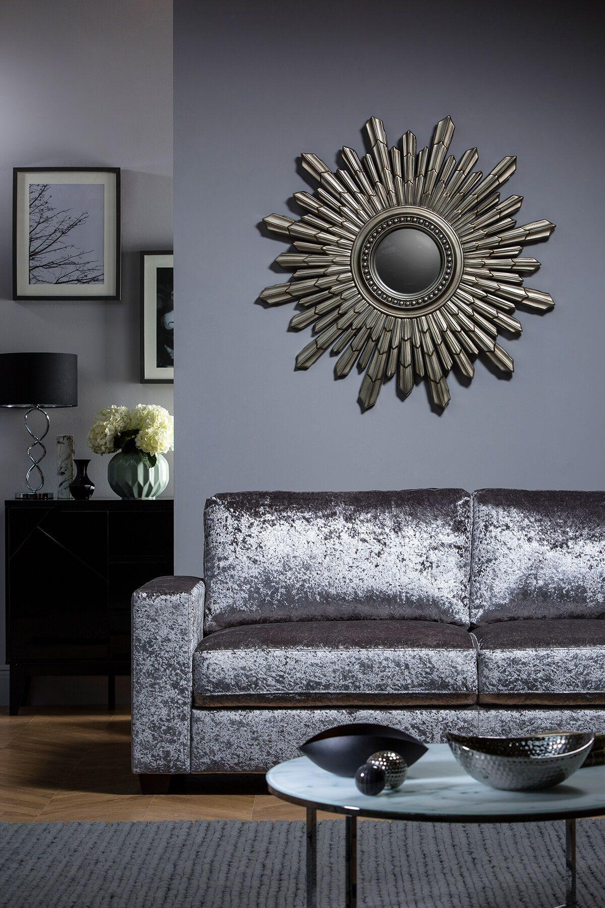 Mission Velvet 3 Seater Crushed Velvet Sofa Living Rooms Velvet Living Room Crushed Velvet Living Room