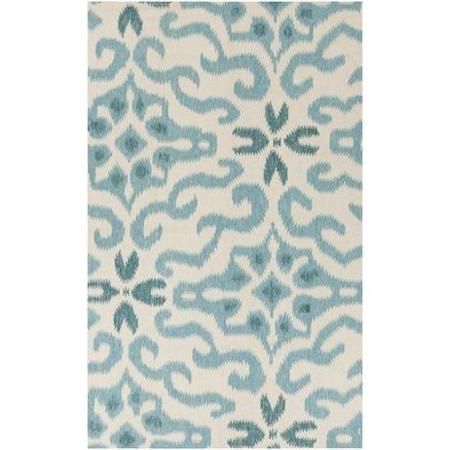 8' x 11' Majestic Damask Teal Blue and Cooled Blue Area Throw Rug