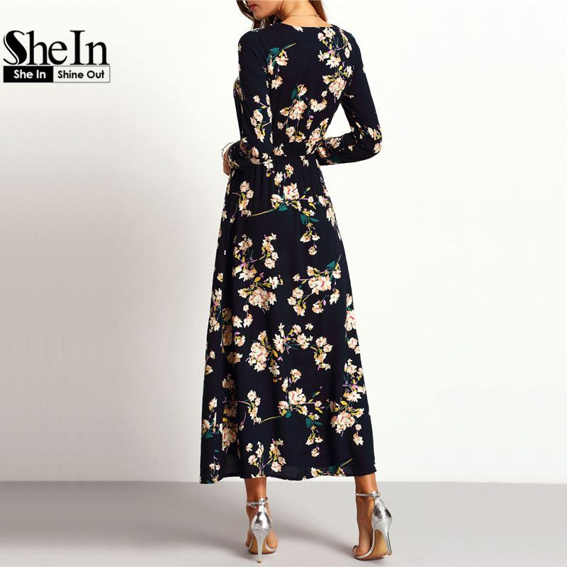 0b75196c44dc SheIn New Arrival Women Maxi Dresses Navy Round Neck Long Sleeve Womens  Fashion With Button Floral
