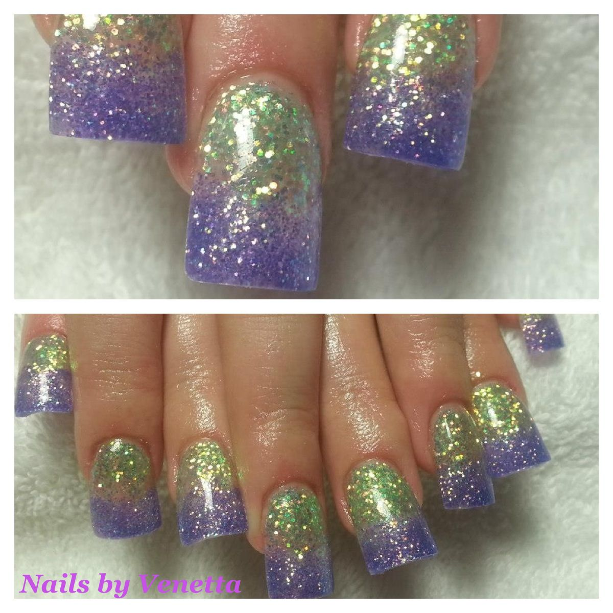 Green & Purple Glitter Fade Acrylic Nails