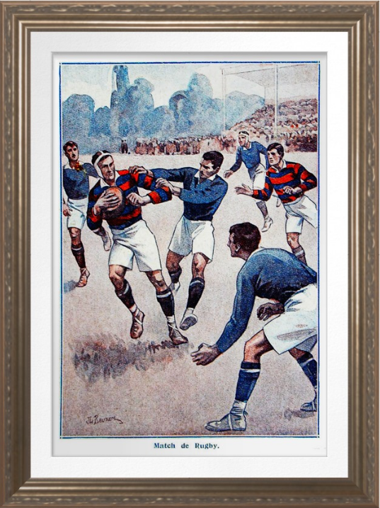 Vintage French Rugby Archival Print Zazzle Com In 2020 Rugby Illustration French Rugby Archival Print