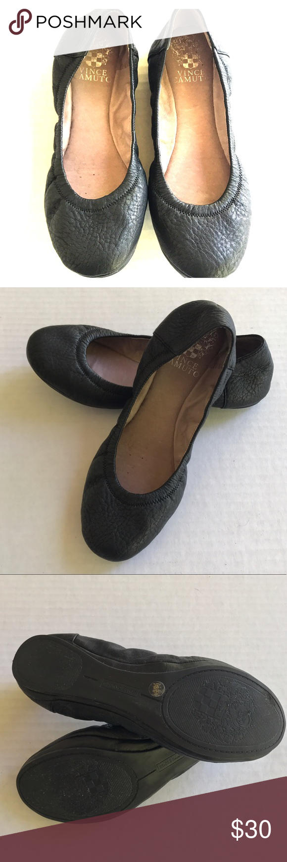 Vince Camuto Ballet Flats Super cute, comfy Black Vince camuto ballet flats size 5 1/2 in great conditions. Great for Jeans, shorts even dresses. Used a couple of times Vince Camuto Shoes Flats & Loafers