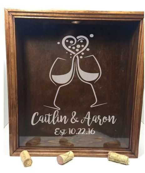 Custom Logo Shadow Box-Wine Cork Holder-Handmade-Donation Box-Money Box-Wedding gift-Personalized Shadow Box-Mr and Mrs-Guest Book