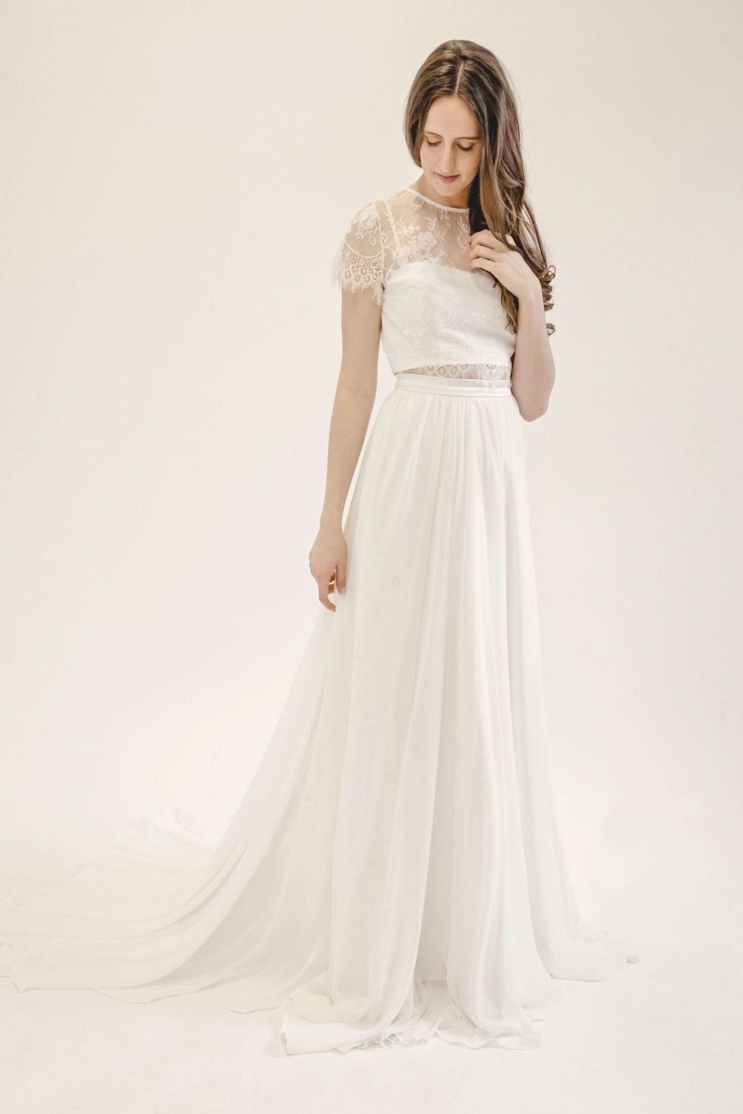 Emily chiffon skirt and lace crop top three piece