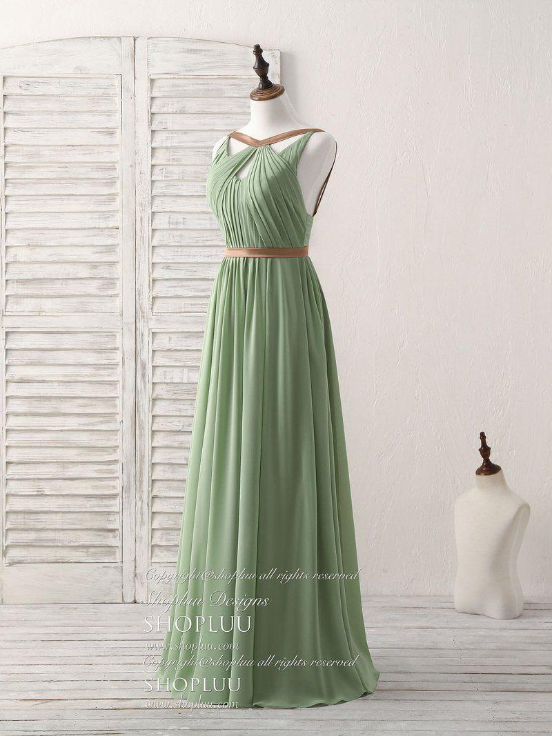Simple Green Chiffon Long Prom Dress Green Bridesmaid Dress In 2021 Chiffon Grecian Dress Green Bridesmaid Dresses Dresses [ 1067 x 800 Pixel ]
