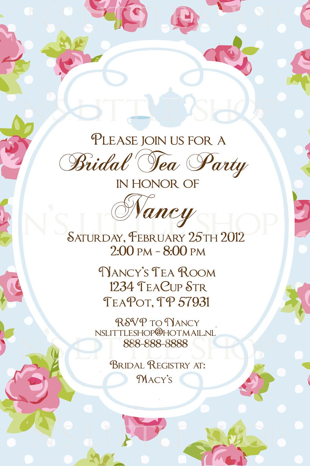 English ROSE Tea Party invitation card / customize/ printable ...