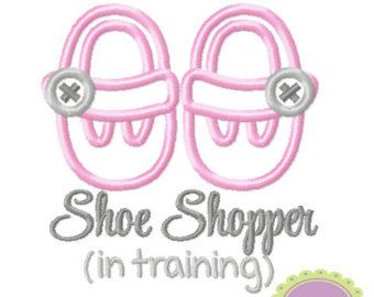 Shoe Shopper in Training Machine Embroidery Applique Design
