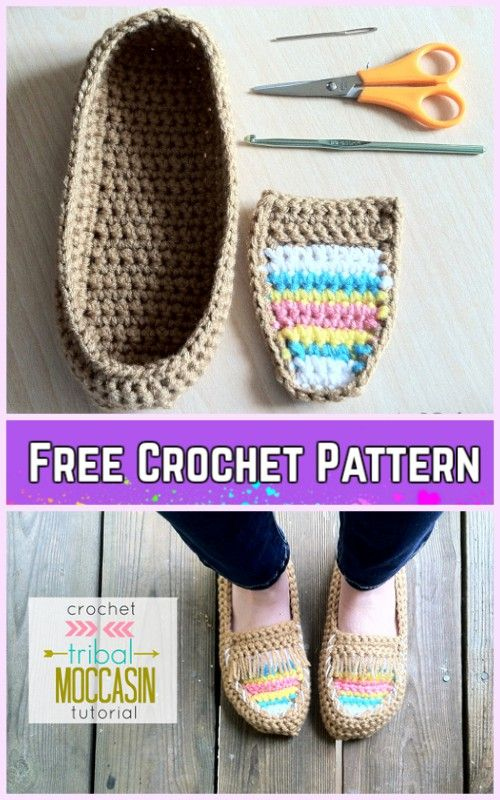DIY Crochet Adult Slippers Pattern Round Up- Crochet Tribal Moccasin ...