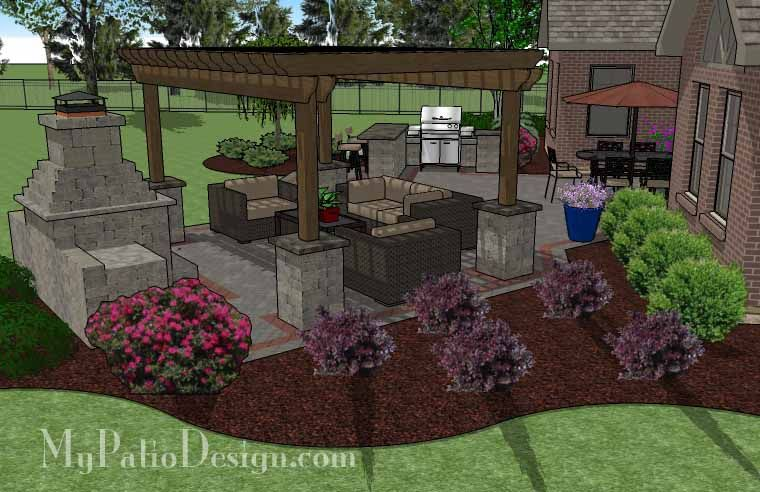Large Brick Patio Design With 12 X 16 Cedar Pergola, Outdoor Fireplace And  Grill Station  Patio And Fireplace
