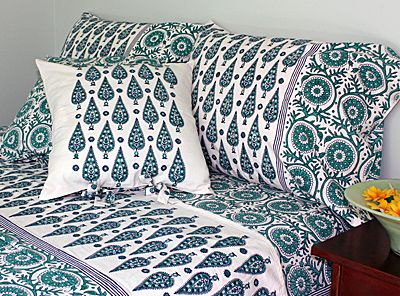 Hand Block Printed Bed Linen And Window Panels From India