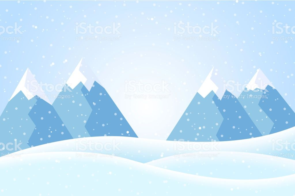 Vector Illustration Of Winter Mountain Landscape With Snow And Blue Mountain Landscape Arctic Landscape Vector Illustration