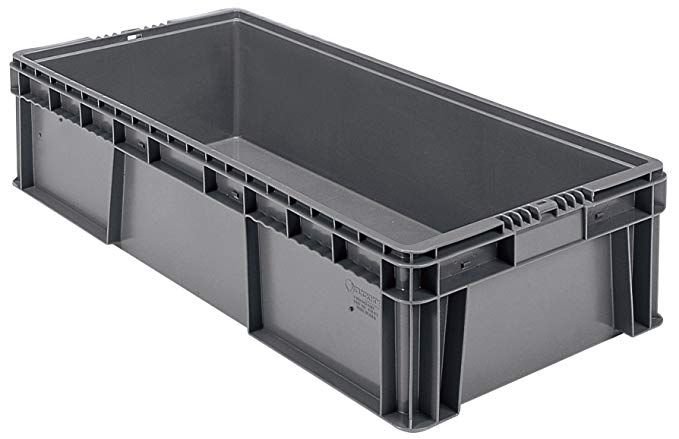 Buckhorn Sw3215080206000 Plastic Straight Wall Storage Container Tote 32 Inch By 15 Inch By 7 5 Inch Dark Grey Review Wall Storage Storage Storage Containers