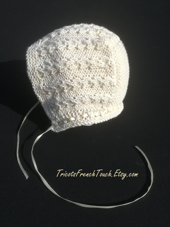8c14d94547a0 Bonnet béguin vintage en coton bio couleur écru (naturel).Béguin bonnet bébé  cadeau
