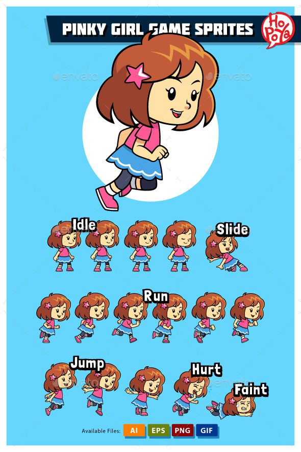 Pinkies Mobile Nails Solihull: Pinky Girl Game Sprites For Side Scrolling Action