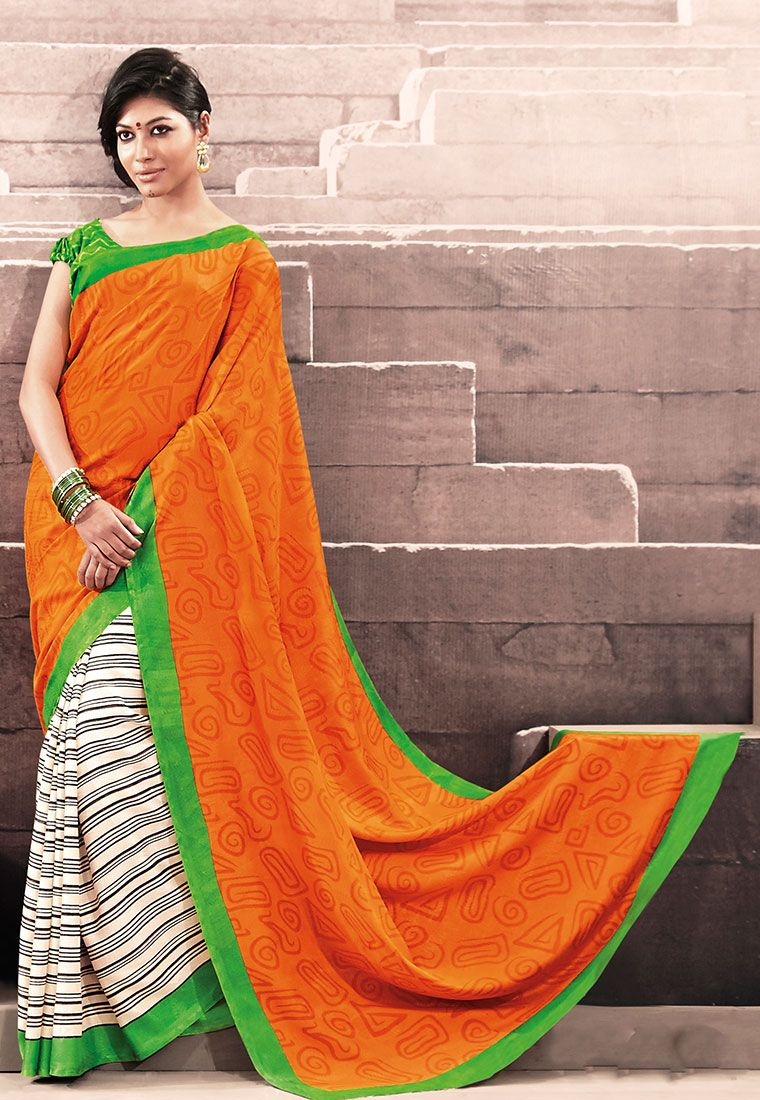 Orange Color Stripe Printed Designer Bhagalpuri Saree With Green Color Blouse