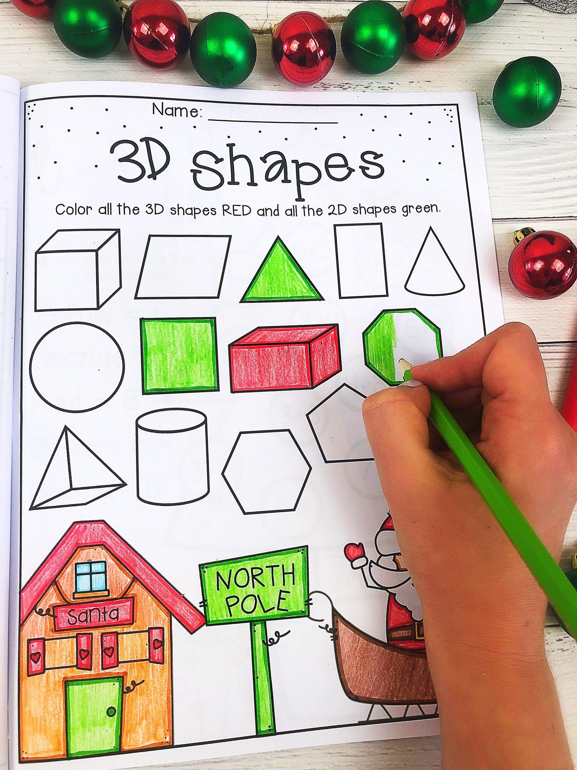3d Shapes Worksheet For Kindergarten Christmas 3d Shapes