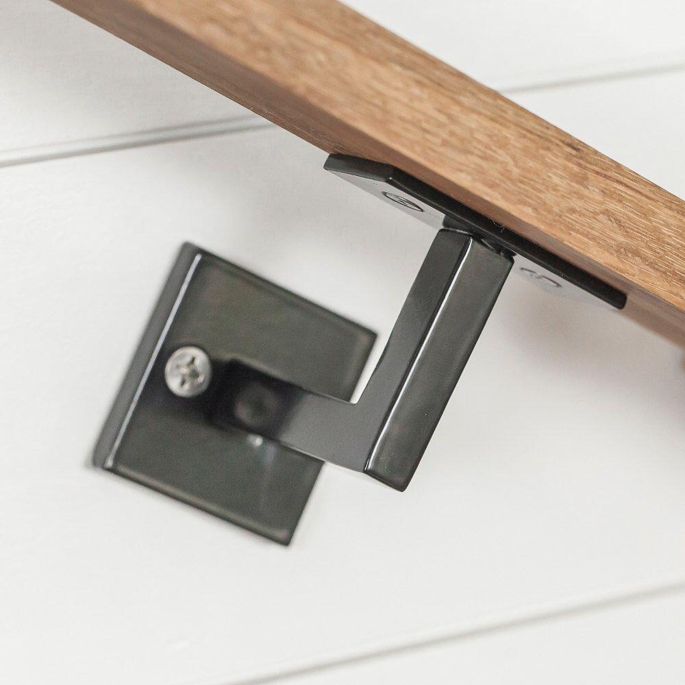 Minimal Handrail Bracket 1 2 Solid Steel Square Bar | Modern Stair Handrail Wall Mounted