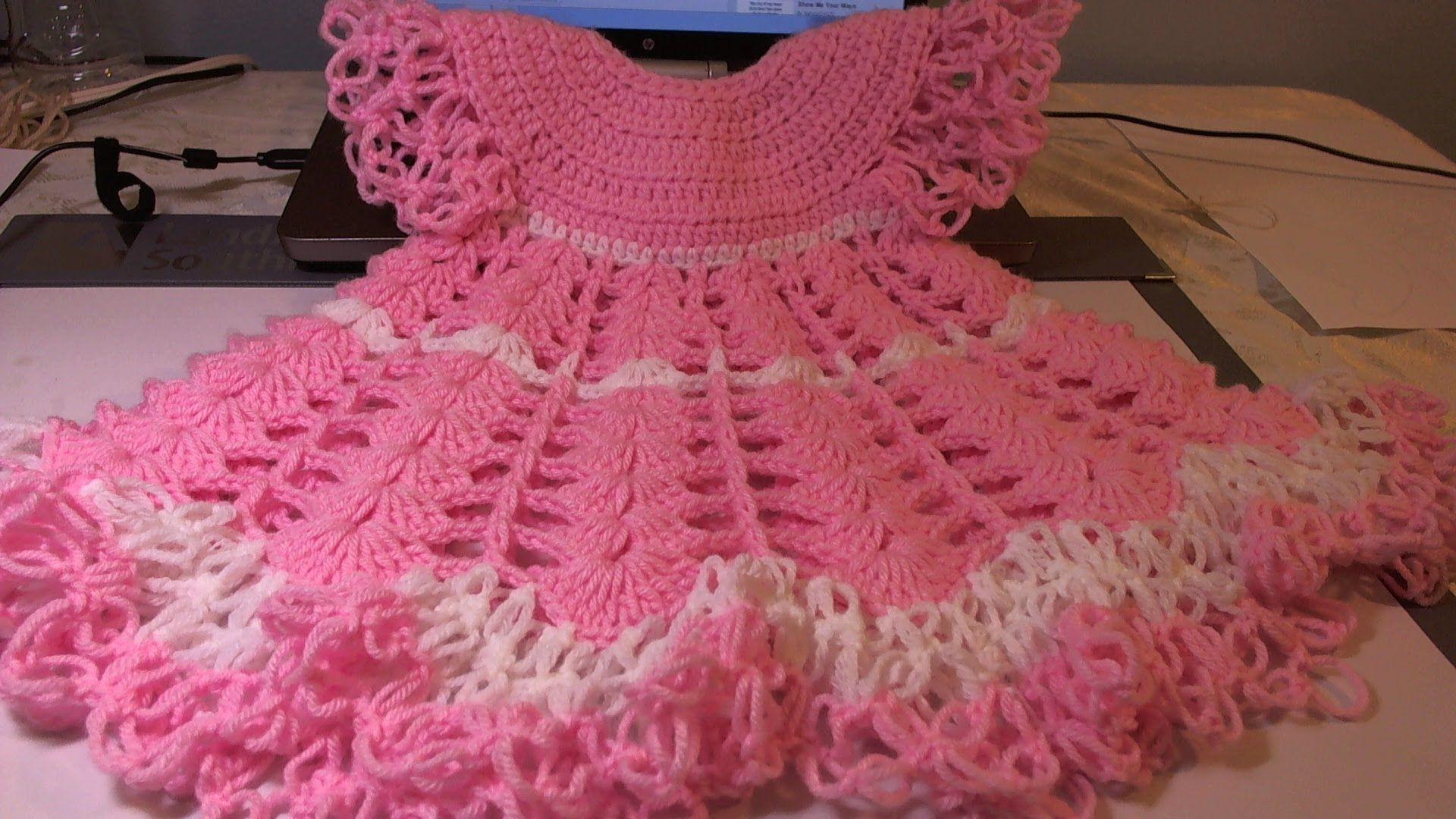 Crochet Baby Dress/ Shells and lacy dress - Video 1 / subtitulos en espanol