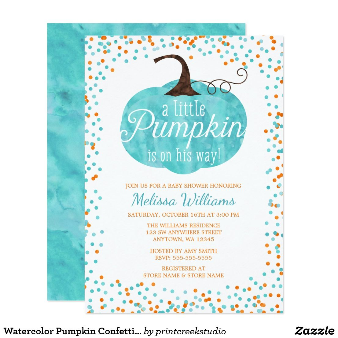 watercolor pumpkin confetti fall boy baby shower card t