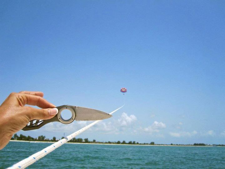 We went parasailing yesterday and asked someone on the boat to take photos of us. We found this on our camera.