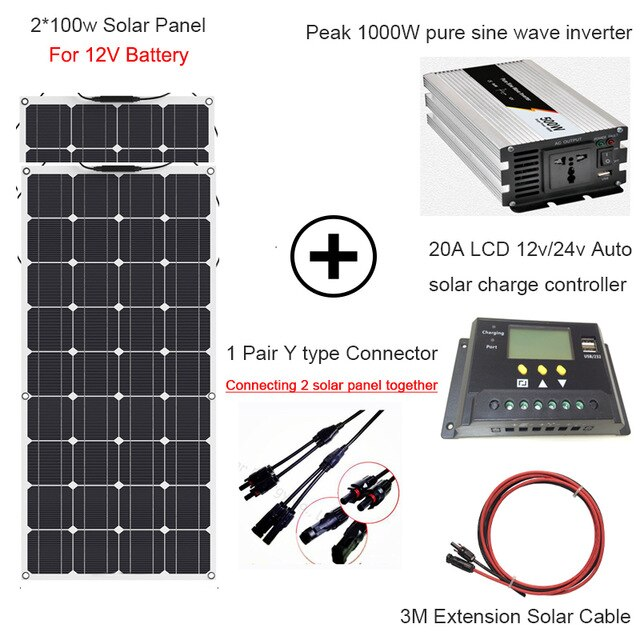 1000w Solar Energy Whole Solar System 2 100w Flexible Solar Panel Power Home Kit Solar 110v 220v With Inverter And Controller In 2020 Flexible Solar Panels Solar Panels Solar