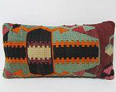 Turkish cushion sofa throw pillow lumbar kilim pillow decorative pillow couch outdoor floor bohemian decor boho ethnic tribal accent 21910