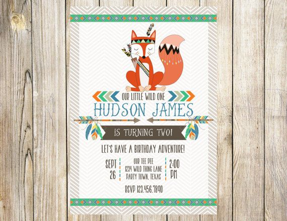 Tribal Fox Birthday Invitation by EmmyJosParties on Etsy Boy