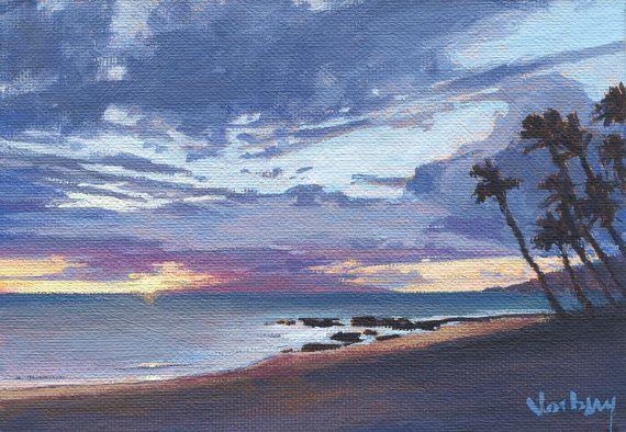 Tropical Island Beach Ocean Sunset: Keawakapu Tropical Ocean Beach Sunset Palm By