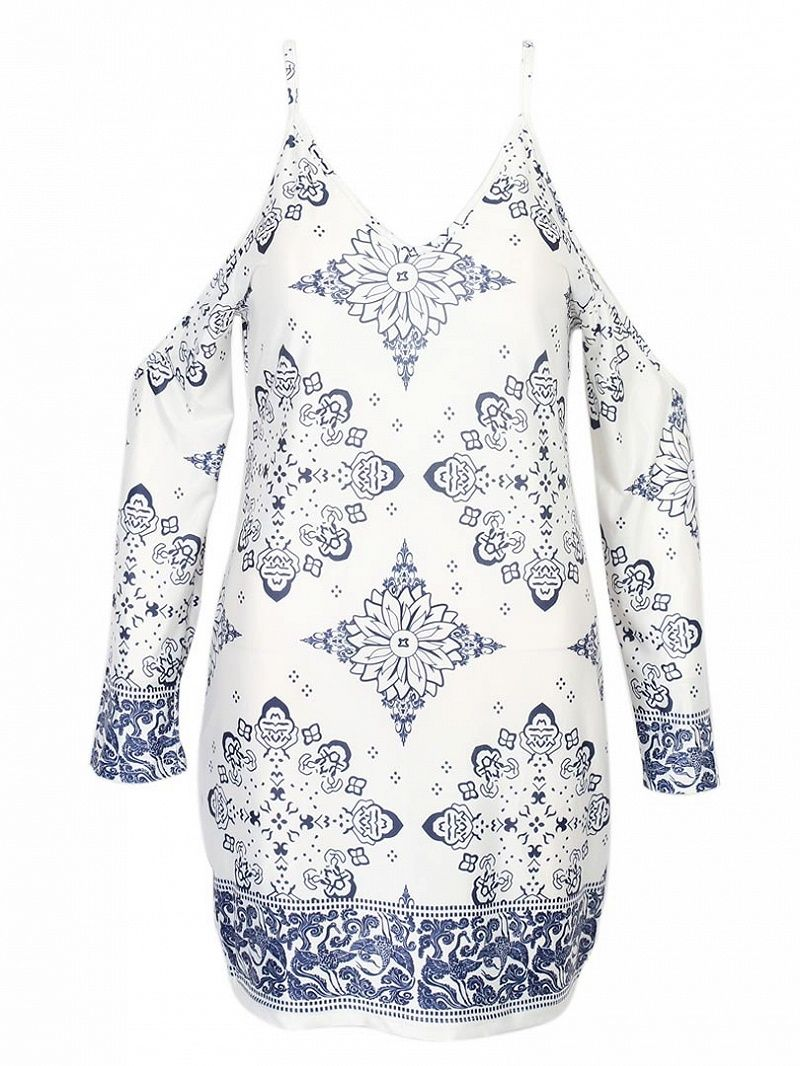 Woven fabric allover tile print v neckline long sleeves with cold
