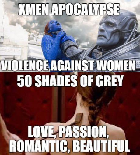 Ohh the irony...X Men vs Fifty Shades of crap