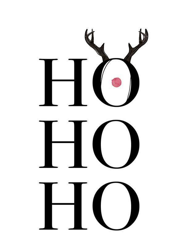 Hohoho Deer von KRUTH DESIGN | #Anlässe #Schwarz #Weiß #Weihnachten #Weiß #Schwarz #JUNIQE | Weitere Designs auf www.juniqe.de #4adventbilder