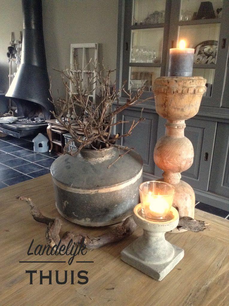 Landelijke decoratie tafel binnenkijken woon idee n pinterest decoratie kandelaars en - Rustieke eetkamer decoratie ...