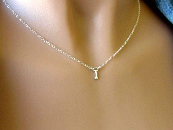 Tiny Sterling Silver Key Necklace. $24.00, via Etsy.