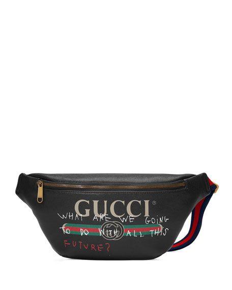 Gucci Gucci Print Leather Belt Bag Black Gucci