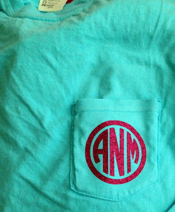 ebf20550b63b9 Custom Vinyl Monogrammed Pocket T-Shirt in 2019 | Stuff | Monogram ...