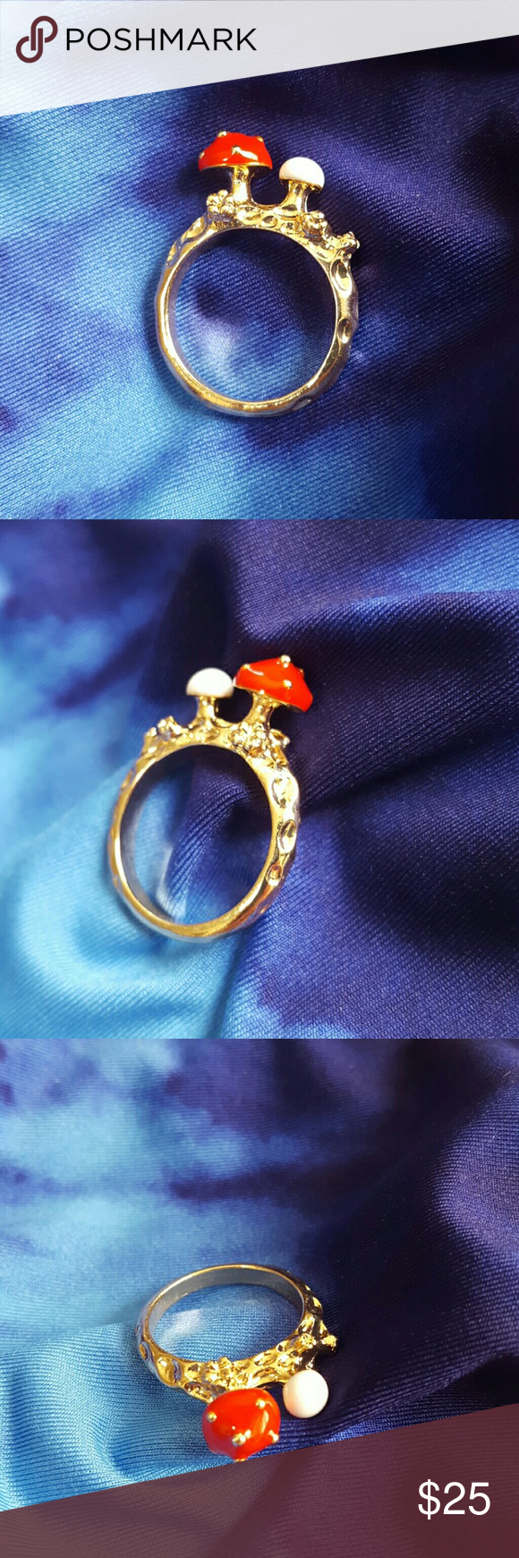 Magical Mushroom Forest Ring This lovely ring has a red and white mushroom on it! The band is detailed like a wooden forests tree bark and then the mushrooms har enamel on them the red is spoted and the white is is a brand new little fungi. This ring is a size 6 and is brand new and unused. Great with your favorite shirt and jeans. Other great accessories in my closet. Jewelry Rings
