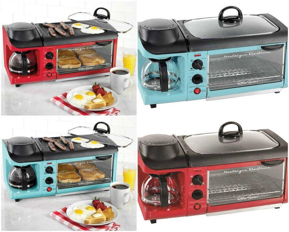 Nostalgia 3 In 1 Coffee Maker Griddle Toaster Breakfast Station Oven